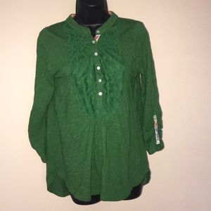 Meadow Rue Lace Floral Henley Tunic Size S
